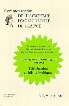 Boussingault jeanbaptiste 1802 1887 teledetection et bilans hydriques compte rendus aaf vol 73 n 6 1