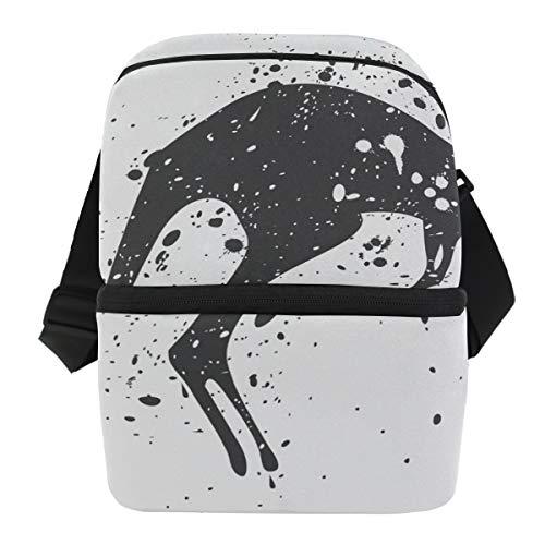 Isolierte Känguru (Bennigiry Wild Animal Känguru-Lunchtasche, doppellagig, isoliert, Kühltasche für den täglichen Mittagessen zur Arbeit oder für die Schule, Picknicktasche)