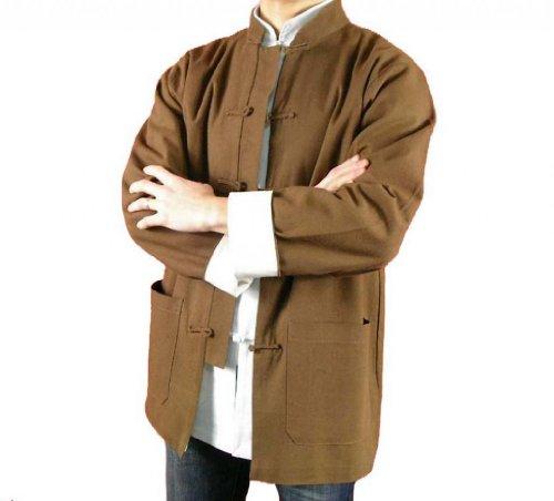 Lin Fin Col Mao Veste Marron Tai Chi Arts Martiaux Blouson Homme Tailleur #117
