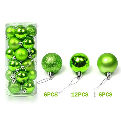 Coogel XHSP 24pcs Barrelled Bright Colorful Plastic Christmas Ball Christmas Tree Ornaments Party Decor Apple Green