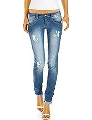 Bestyledberlin Damen Jeans Hüftjeans Slim Fit Hosen Gerades Bein Destroyed Stretch Röhrenjeans j78kw