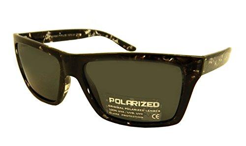 Messori Unisex Polarized Sonnenbrille Schwarz getönt Prius PRWA006 Gestell Kunststoff Muster Glanz
