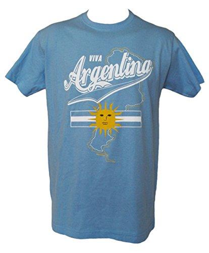 Argentinien Fußball T-Shirt für Herren Blau Blau S (Fifa World Cup 2014 Ball)