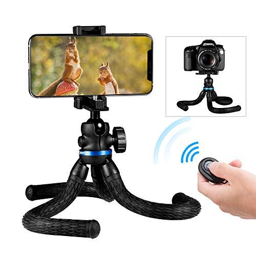 """K&F Concept [2 en 1] Mini Trípode Flexible Smartphone con Control Remoto Bluetooth y Tornillo 1/4"""" y Soporte para Cámara Teléfono Gopro y Micrófono"""