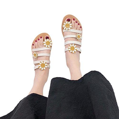 MOIKA Damen Sommer Elegant Böhmen Blumen Schuhe Flache Sandalen Schuhe Mode Strandschuhe Zehentrenner Pantoletten Riemchensandalen(EU35,Weiß