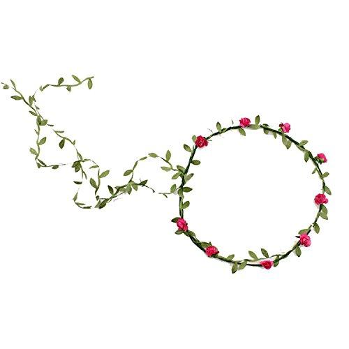 Bandeau-SODIAL(R) 2 pcs Dame Boho Floral Fleur Festival Mariage Guirlande Front Bandeau Bande de cheveux -Rose Rouge