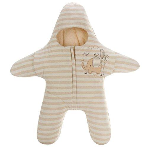 Highdas recién nacido del algodón del invierno del invierno calientan las estrellas de mar de múltiples funciones 42 * 83cm / 0-6Months del mono de la cremallera del bolso de dormir