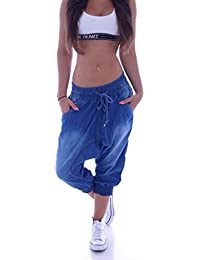 Capri 3/4 Harem Jeans Hose Baggy Boyfriend Pluderhose Blau S 36 M 38 L 40 XL 42 XXL 44 (M 38)