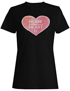 El hogar es donde tu corazón es corazón de acuarela camiseta de las mujeres q8f