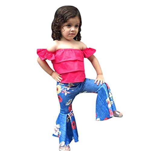 Baby Kleidung Tatis 2 Stücke Kleinkind Baby Kinder Mädchen Schulterfrei Tops+ Denim Floral Hosen Set Outfits (Größe: 4 Jahre, Heiß Rosa)