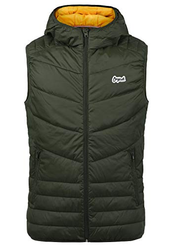 JACK & JONES Originals Jasso Herren Weste Steppweste Outdoor Weste Mit Kapuze, Größe:M, Farbe:Forest Night