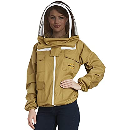 Natural Apiary - Apiarist Beekeeping Jacket - Khaki - Fencing Veil - Total Protection for Professional & Beginner Beekeepers - Medium 1