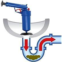 JOYOOO High Pressure Hand Power Drain Toilet Plug Sink Plunger Tool Cleaner wiht 4 adaptors