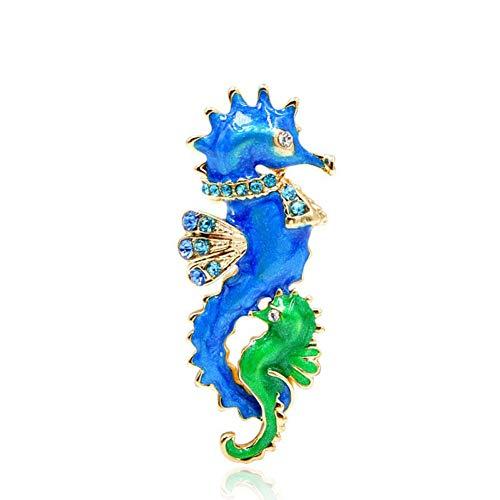 Meer Grüne Farbe Net (HUNANANA Blaue Und Grüne Farbe Seepferdchen Broschen Für Frauen Nette Emaille Meer Tier Brosche Modeschmuck Geschenk)