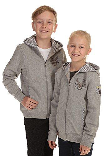 Isar Trachten Trachtenjacke Kinder Kapuzenjacke Sweatjacke grau für Jungen und Mädchen mit Hirschapplikation