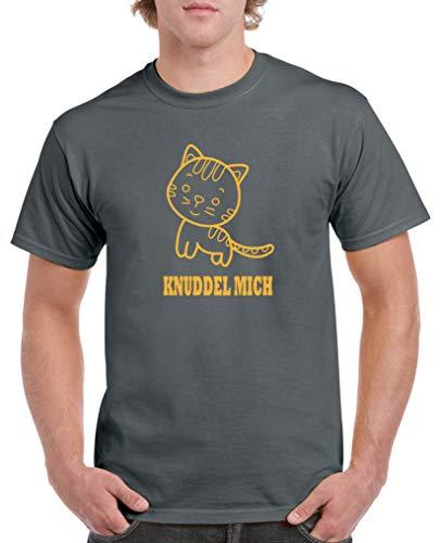 Comedy Shirts - Knuddel Mich Katze - Herren T-Shirt - Dunkelgrau/Gelb Gr. XL