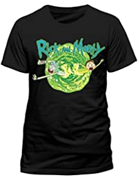 CID Men's Rick and Morty-Black Portal T-Shirt