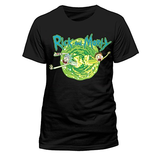 I-D-C CID Rick and Morty-Black Portal, Camiseta para Hombre, Negro, XX
