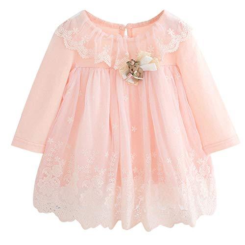 Kobay Neugeborenen Baby Mädchen Spitze Tüll Cute Cartoon Kleiner Bär Prinzessin Kleid(9-12M,Rosa)
