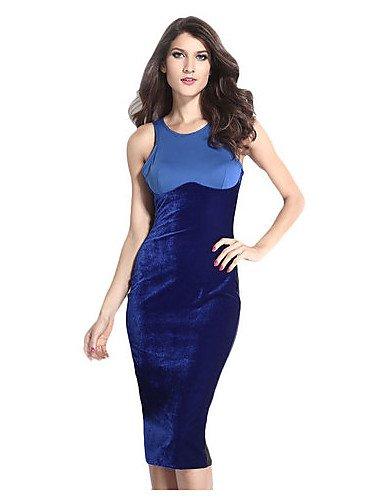 PU&PU Robe Aux femmes Moulante Vintage,Mosaïque Col Arrondi Midi Polyester BLUE-M
