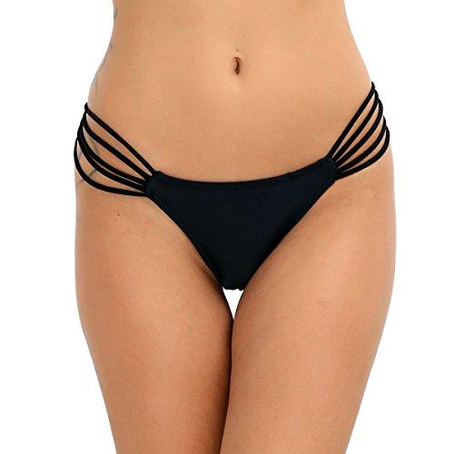 iiniim Damen Tanga Bikinihose String Rüschen Brazilian Bikini Slip Schnüren Höschen S-L Schwarz