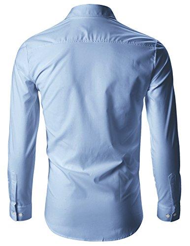 FLATSEVEN Chemise Cintrée Slim Fit Designer Habillée Homme Chic SH142 Bleu Pâle
