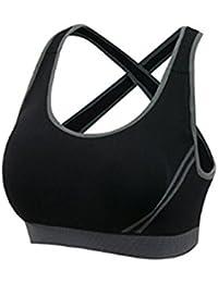 2a2b7587f38e Top sportivo da donna con reggiseno imbottito, adatto per allenarsi in  palestra, correre,