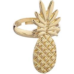 LUX accesorios dorado anillo de piña diseño de frutas tropicales de Emily Ann