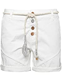 Eight2Nine Damen Shorts mit Flechtgürtel   Elegante Kurze Hose im Chino  Style mit… 5b22dacbc0