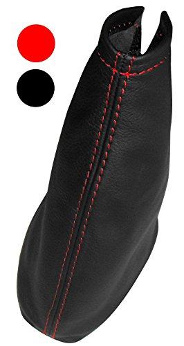 Aerzetix - Schaltsack Schalthebelmanschetten Schalthebelmanschette Schaltbetätigungs Schwarze Farbe 100% Echtes Leder (Rote Nähten)