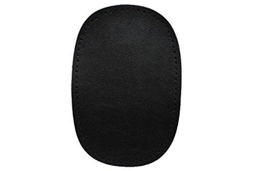 ovaler Flicken - schwarz Leder 10 cm * 15 cm Aufnäher zum Aufnähen Applikation zum (Schwarz Leder 10)