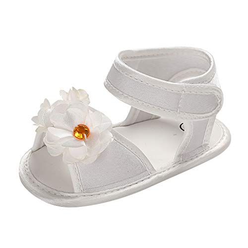 erthome Baby Schuhe, Toddler Infant Baby Girl Soft Sole Flower Applique Sandals Shoes Single Shoes (11, Weiß)