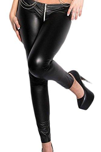 iEFiEL Wetlook Leggings Leggins schwarz Lederoptik Damen Pants Hose lang 2 Wege Reißverschluss Party Clubwear (M, Schwarz)