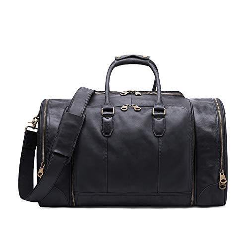 ZIXERN Reisen Carry Taschen Unisex Große Kapazität Gepäcktasche Vintage PU Leder Tragbare Handtasche Reise Umhängetasche Schwarz Und Braun Reisen Wochenende Reisetasche (Color : Black)