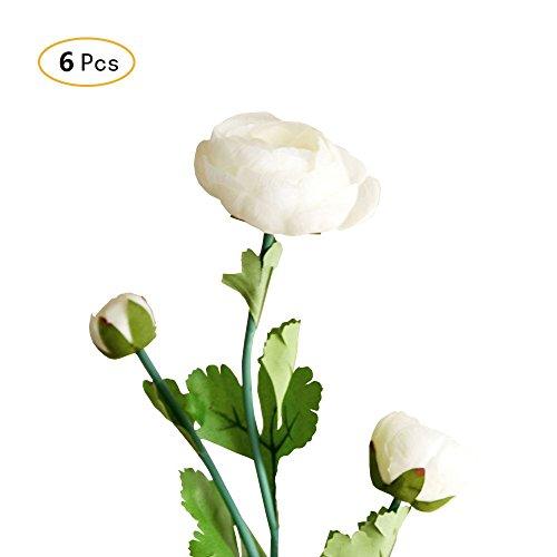 Jia HU Lot de 6 bouquets de fleurs artificielles Pivoine de Pivoine arrangements plantes d'intérieur Décoration extérieure blanc
