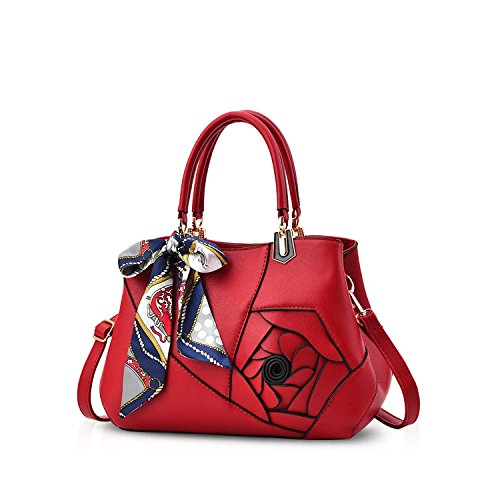 NICOLE&DORIS Donne Fiori Top Handle Borse Borsa a tracolla Borsa Crossbody Bag Tote Satchel per le signore PU Leather Rosa Vino Rosso