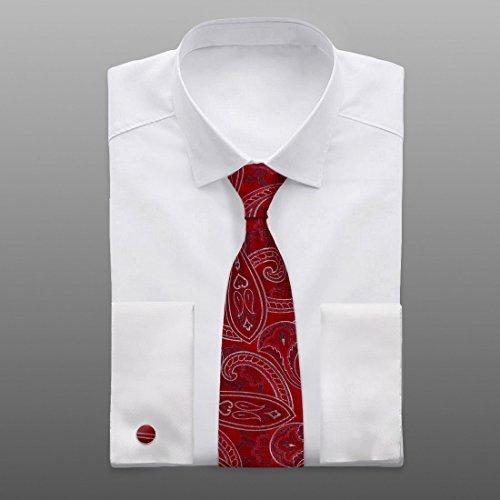 YA-BC-B.01 Hochzeitsfest-Paisley-Jacquardwebstuhl-Silk Krawatten für Verbindung Durch Y & G Rot - YACB0013-Red,Grey