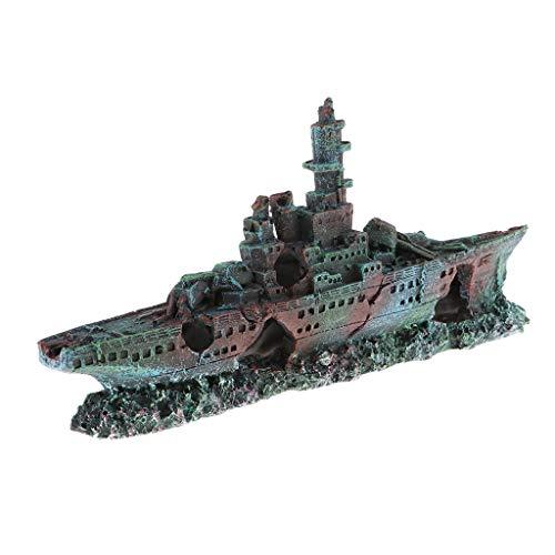 chiwanji Aquarium Dekoration Schiff Schiffswrack Sinkendes Kriegsschiff Fisch Tank Landschaft Ornament - Schiff Sinkende