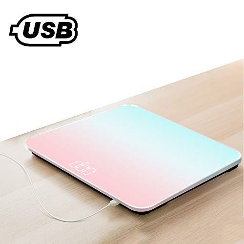 ZAOFENG Elektronische Waage des Menschlichen Körpers, Wiederaufladbare USB-Personenwaage Glasgewicht Waage Weight Watchers