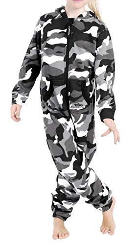LIL'Finch LFV2 Kinder Jumpsuit Jungen Mädchen Overall Camo Grau Gr. 98-104 (Schlafanzug Camo Jungen)