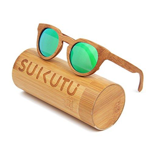 SUKUTU Männer Frauen Handgefertigte Bambus Sonnenbrillen Brillen Outdoor Retro Mode Polarisierte Holz Gläser mit Bambus Box SU039