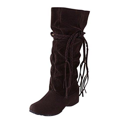 Damen Schuhe Dasongff Damen Stiefel Fransenstiefel Langschaft Stiefel Erhöhen Sie Plattform Stiefel Motorrad-Schuhe Runde Flache Stiefel Schlupfstiefel Schuhe Boots (EU:38, Braun)