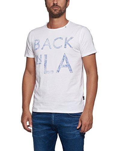 Replay Men's Lettered Men's White T-Shirt 100% Cotton White
