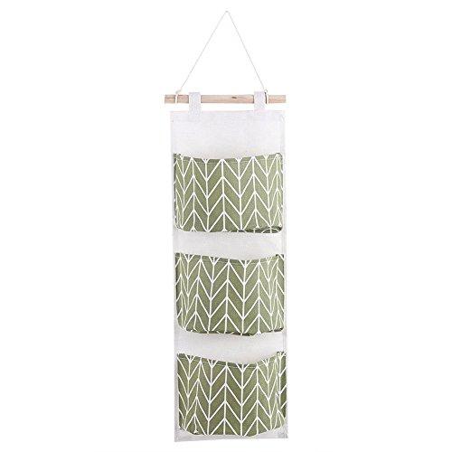 Borsa organizer con tre tasche, borsa portaoggetti con tasche, da appendere al muro, alla porta, nell'armadio, portaoggetti organizer per la casa, borsa organizer, custodia green