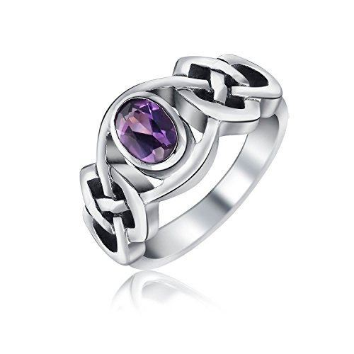 Bling Jewelry Alexandrite Celtic Knot Band Sterling Silver Ring