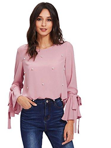 SOLY HUX Sweat Shirt Femme Blouse Top Manche Longue Perle Col Rond Rose M df354864a6f