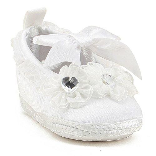 OOSAKU Baby Taufe Taufe Kleinkind Kleinkind Rutschfeste Kleid Schuhe mit Bowknot Spitze Floral Weiß 0-3 Monate