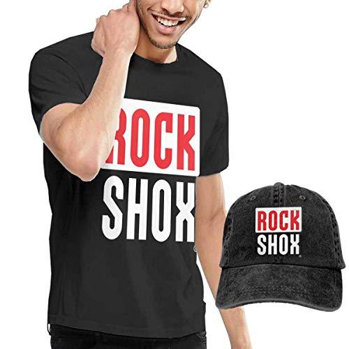 Herren Kurzarmshirt,T-Stücke,Rock Shox Short Sleeve T-Shirts Black (with A Cap) ComfortSoft Man's T Shirts Graphic Funny Round Neck Tee Basketball Hats Combination (Sleeve T-shirt Basketball Short Graphic)