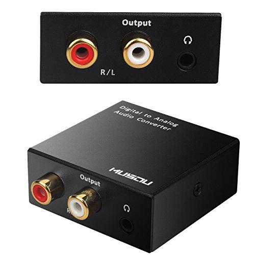 Musou DAC de Audio Convertidor de Digital a Analógico con Cable Coaxial/Óptica a RCA Toslink y SPDIF L/ R Transformador de HDMI Audio para PS3 4 Xbox Android Box AppleTV Blu-ray Home Cine