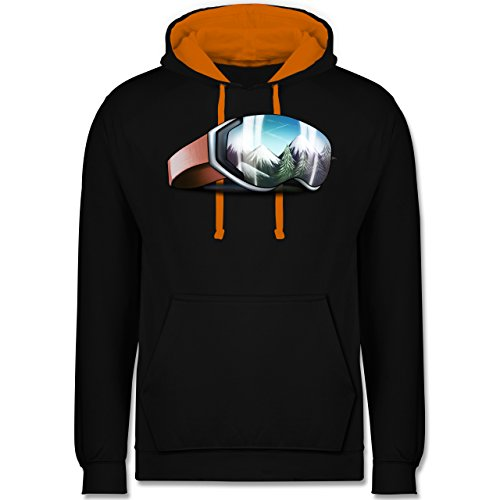 Wintersport - Skibrille - M - Schwarz/Orange - JH003 - Kontrast Hoodie